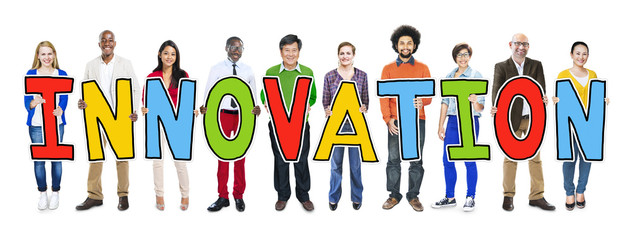 Group of People Standing Holding innovation