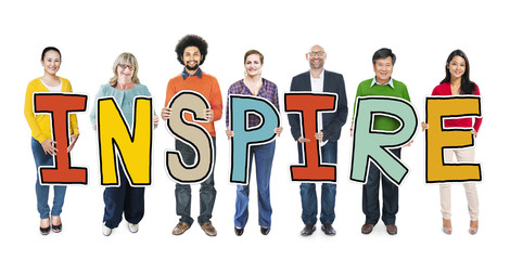 Multiethnic Group of People Holding Letter Inspire