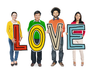 Multiethnic Group of People Holding Letter Love