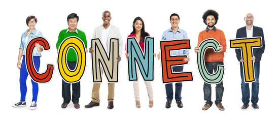 Multiethnic Group of People Holding Letter with Connect Concept