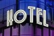 Leinwanddruck Bild - hotel leuchtschrift