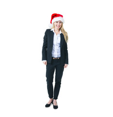 A Cheerful Businesswoman in a Santa Hat