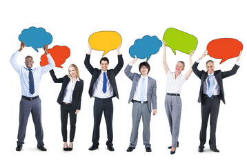 Business People and Empty Speech Bubbles