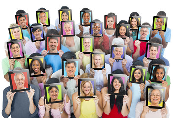Multiethnic Group of People with Global Communications