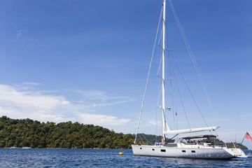 Sailing yacht at Surin national park