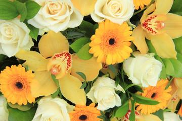 Cymbidium orchids, Gerberas and roses