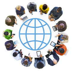 Diverse People Using Digital Devices with World Symbol