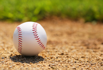 Baseball on Field. Closeup