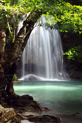 Waterfall in forest of Thailand, Erawan waterfall at Kanchanabur