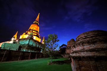Pagoda at Wat Yai-Chaimongkol  Temple Ayuttaya Province, Thailan