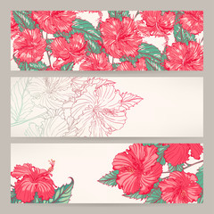 banners with pink hibiscus