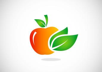 apple leaf fruit vector logo