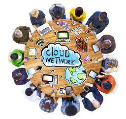 Multiethnic People with Cloud Network Concept