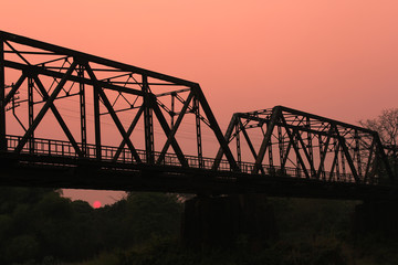 Sunset Railway bridge over river