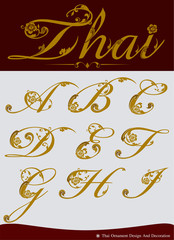 Vector of Thai Calligraphic Alphabet Set One