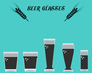 Many types of ale beer Glasses