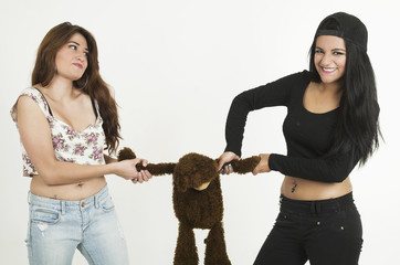 Two playful young girls with a teddy bear