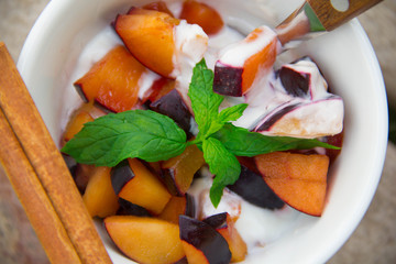 Homemade yogurt with pieces of plums in the white dish