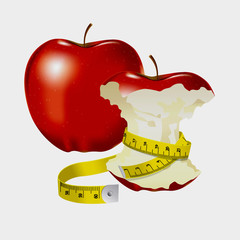 Measuring tape wrapped around red apple as a symbol of diet.