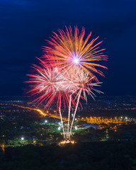 Colorful fireworks display at Chiangmai