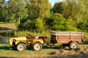 Old tractor in the park