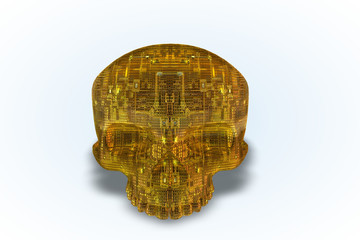 Yellow Circuit Skull Series II