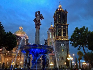 City Plaza Zocalo of UNESCO World Heritage Center Puebla, Mexico