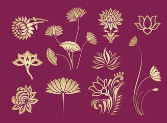 water lily, paisley floral motifs , wedding, royal India