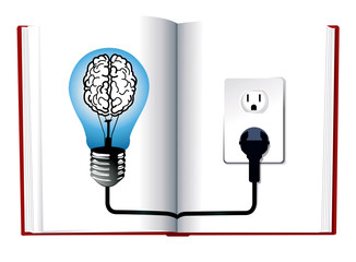 vector of Idea and knowledge concept design.Blue light bulb on o