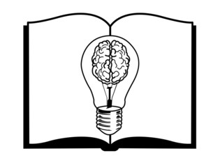 vector of Blue light bulb on open book