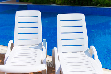 Sun chairs at the pool