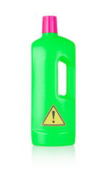 Plastic bottle cleaning-detergent, danger