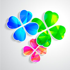 four-leaf clover for luck happiness green three branches