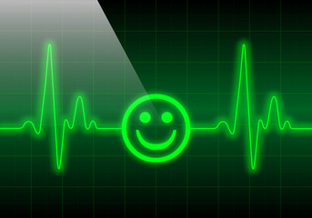 Smiley face on green heart rate monitor