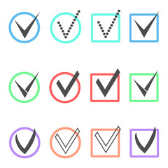 set of different ticks in colored boxes and circles