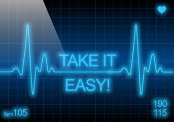 Take it easy - written on blue heart rate monitor