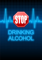STOP DRINKING ALCOHOL written on blue heart rate monitor