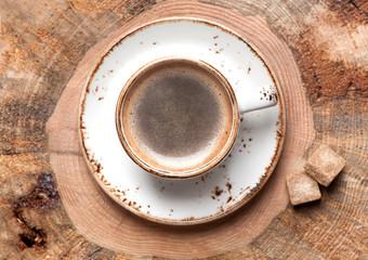 Coffee espresso on wooden background