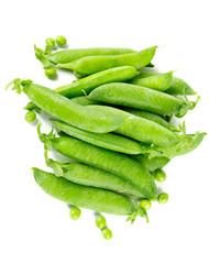 fresh peas isolated on white
