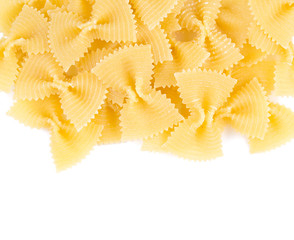farfalle raw pasta isolated on white