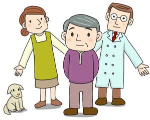 医者と家族が見守るおじいちゃん
