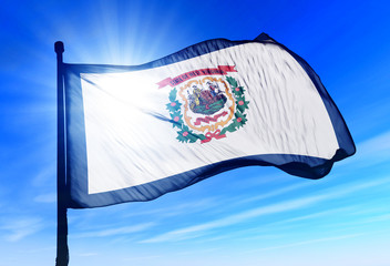 West Virginia (USA) flag waving on the wind
