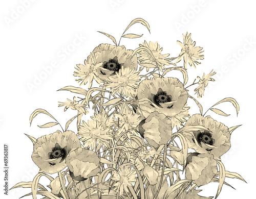 Watercolor Pencil Hand Drawing Flowers © Nadezda Kostina