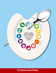 Vector of The Nutrient Color Palette Heart Shape