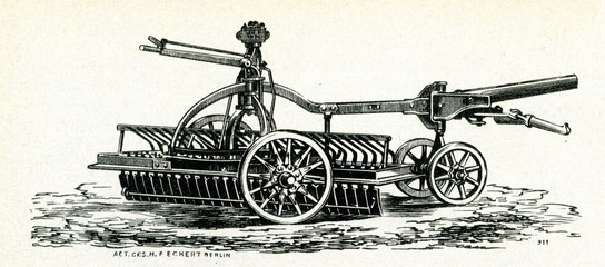 Horse driven street cleaner ca. 1900