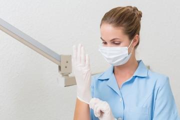 Dental assistant in mask pulling on gloves