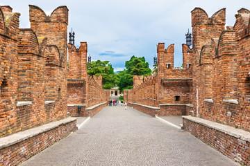 Scaligero Bridge near Castelvecchio in Verona, Italy
