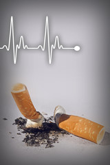 Cigarette butts and heartbeat line