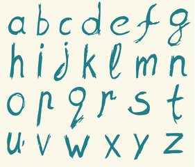 Hand drawn alphabet letters with brush.