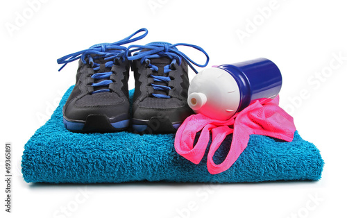 canvas print picture fitness equipment isolated on white background